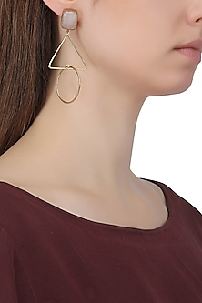 Gold Plated Rose Quartz Triangular Drop Earrings by Aaree Accessories