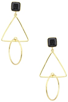 Gold Plated Onyx Triangular Drop Earrings by Aaree Accessories