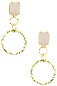Gold Plated Rose Quartz Round Drop Earrings by Aaree Accessories