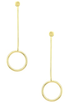Gold Plated Round Drop Earrings by Aaree Accessories
