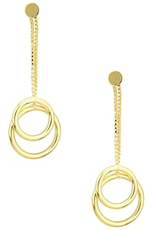 Gold Plated Two Drop and Chain Earrings by Aaree Accessories