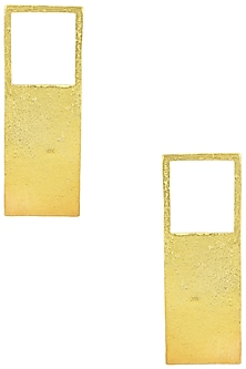 Gold Plated Rectangular Earrings by Aaree Accessories
