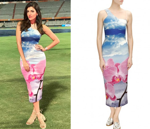 Blue blown up lilac orchid bloom bodycon dress by Kanika Goyal