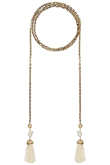 Gold plated tassel lariat necklace by SAMSARA Jewels by RH