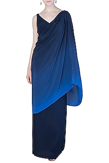 Midnight Blue Ombre Draped Gown by Aroka
