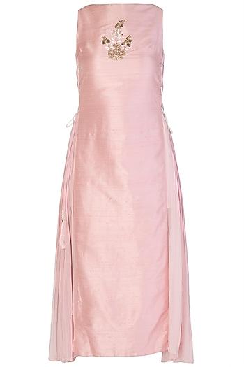 Light Pink Embroidered Dress by Aroka
