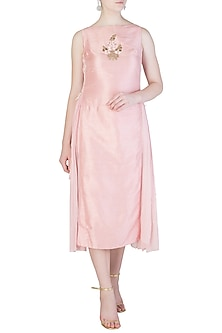 Light Pink Embroidered Dress by Aroka