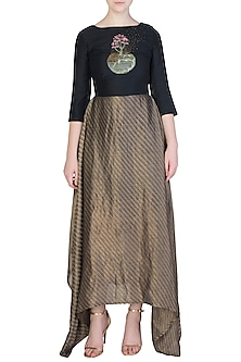 Gold and Black Embroidered Maxi Dress by Aroka