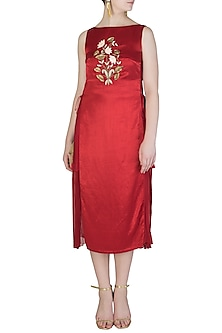 Red Embroidered Dress by Aroka