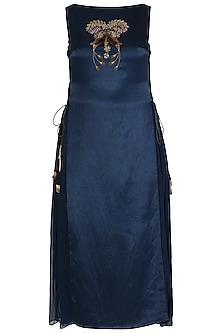 Midnight Blue Embroidred Dress by Aroka