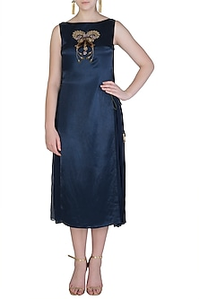 Midnight Blue Embroidred Dress by Aroka