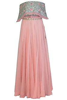 Blue Off Shoulder Embroidered Crop Top with Blush Pink Flared Skirt by Aroka