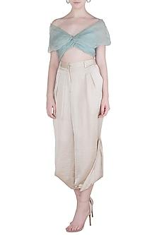 Blue drape blouse by Aroka