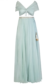 Blue drape blouse with embroidered lehenga skirt by Aroka
