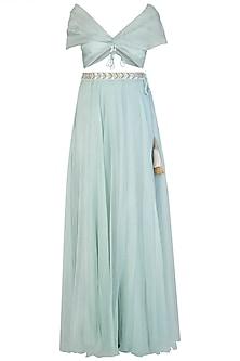 Blue drape blouse with embroidered lehenga skirt by Aroka