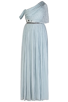 Powder Blue Ruched Gown with Belt by Aroka