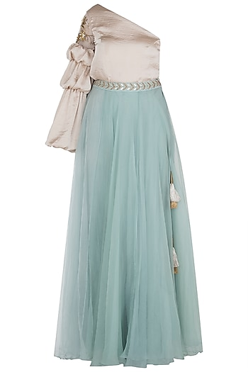 Duck Egg Blue Flared Lehenga Skirt by Aroka
