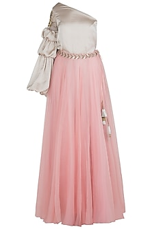 Blush Pink Flared Lehenga Skirt by Aroka