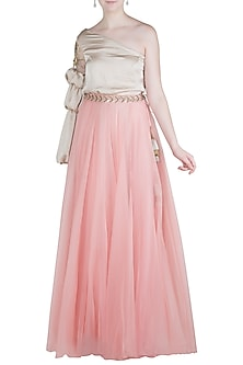 Blush Pink Flared Lehenga Skirt by Aroka