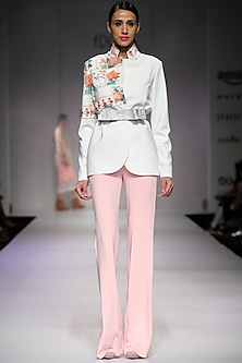 White mosaic tile print lace detail blazer by Archana Rao