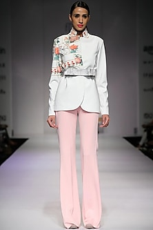 Pink flared trousers by Archana Rao