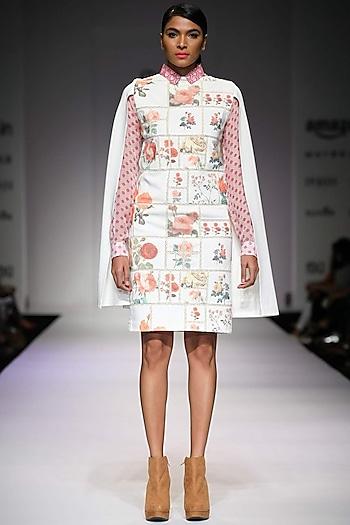 Off white botanical printed cape dress by Archana Rao