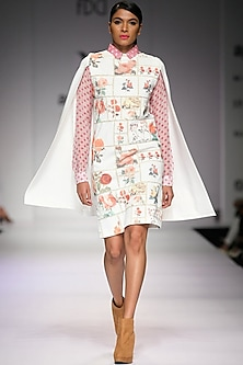 Pink printed chiffon shirt  by Archana Rao