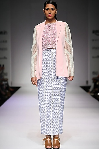 Pink pearl emboridery lace detail blazer by Archana Rao