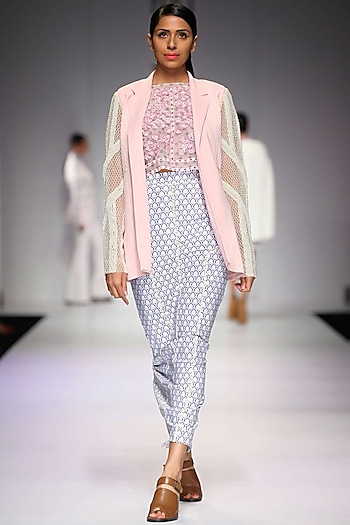 Pink floral applique work crop top by Archana Rao