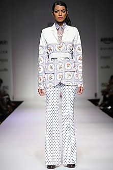 White and blue floral print trousers  by Archana Rao
