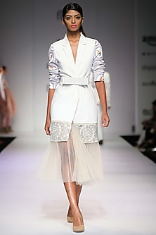 White embroidered mosaic print blazer by Archana Rao