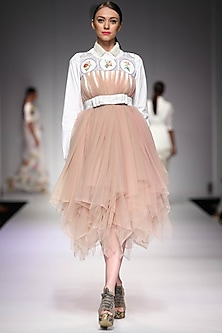 Nude mosaic printed yoke flared tulle dress by Archana Rao
