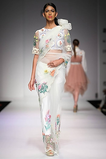 Off white floral embroidered mosaic print blouse by Archana Rao