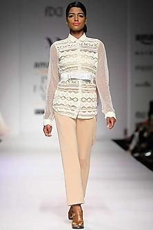 Off white lace and pearl embroidered shirt by Archana Rao