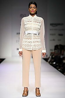 Nude neoprene trousers by Archana Rao