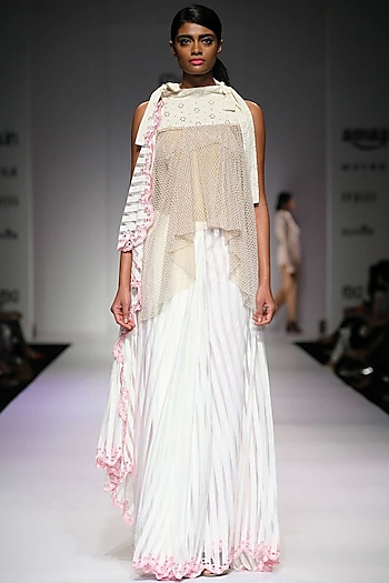 Off white pearl work high-low tie-up top by Archana Rao