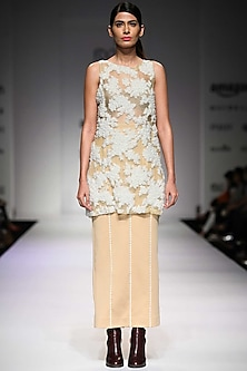 Off white floral pearl embroidered organza dress   by Archana Rao