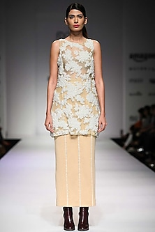 Nude lace inserts neoprene skirt by Archana Rao