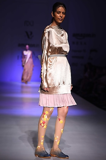 Champagne Pleated Dress by Archana Rao