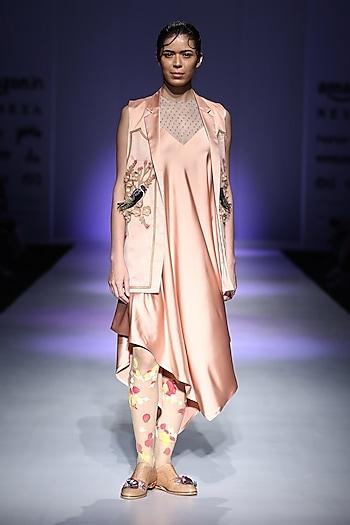 Peach Embroidered Slip Dress by Archana Rao