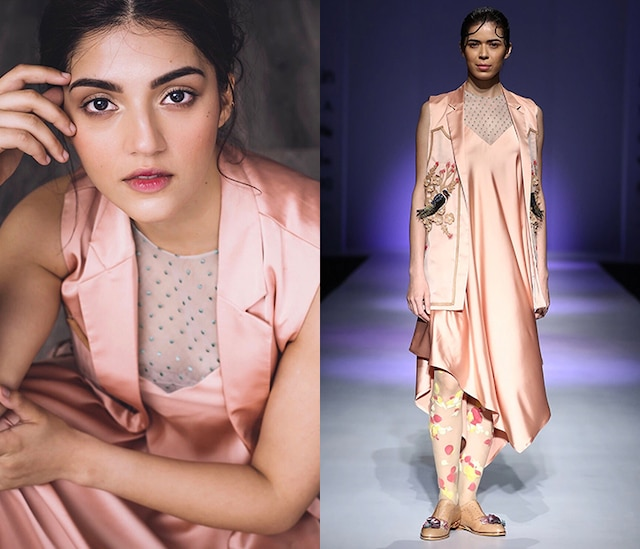 Peach Embroidered Slip Dress by Archana Rao