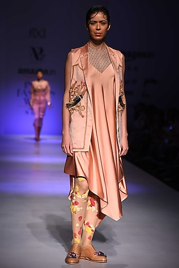 Peach Embroidered Blazer by Archana Rao