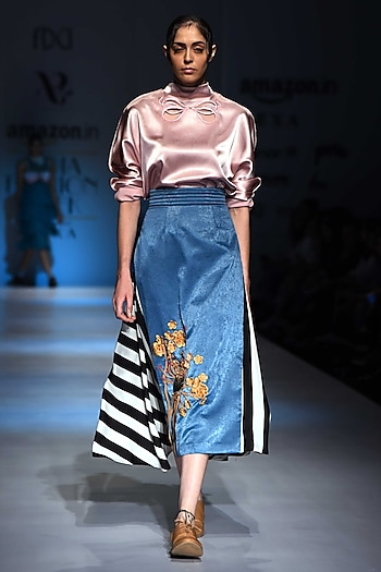 Pink Bow Embroidered Top by Archana Rao