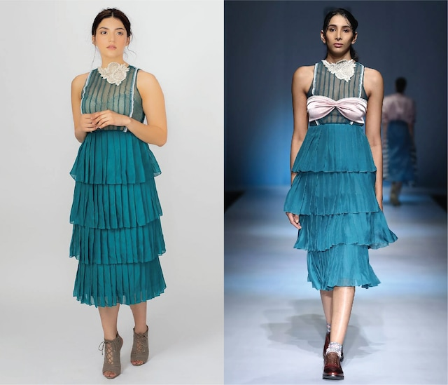 Blue Layered Pleated Dress with Pink Bustier by Archana Rao