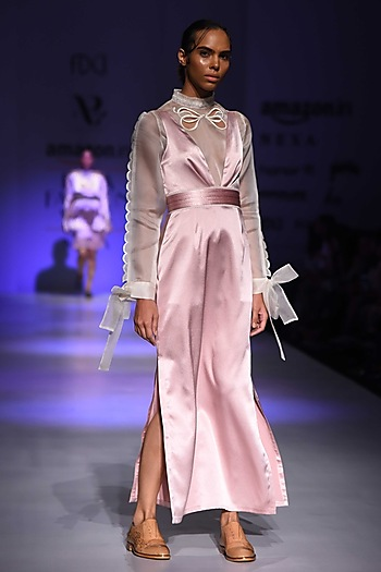 Pink Pleated Slip Dress by Archana Rao
