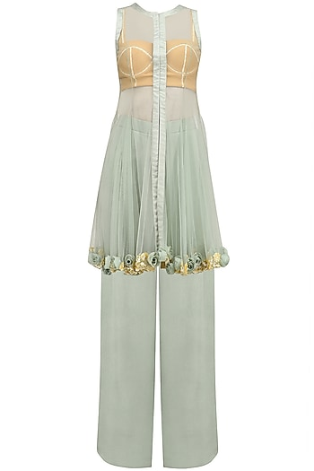 Blue Grey Rosette Embroidered Jacket, Pants and Bustier Set by Archana Rao