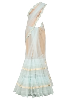 Powder Blue Lace Work Two Tiered Saree by Archana Rao