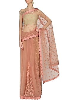 Blush Pink Embroidered Scallop Hem Saree by Archana Rao