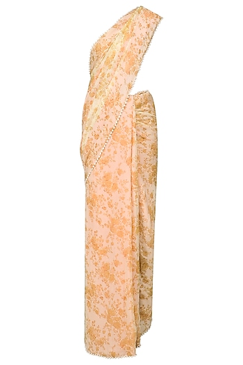 Peach Two Way Floral Printed Saree by Archana Rao
