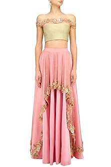 Gold Rosette Embellished Off Shoulder Blouse and Pink Skirt Set by Archana Rao